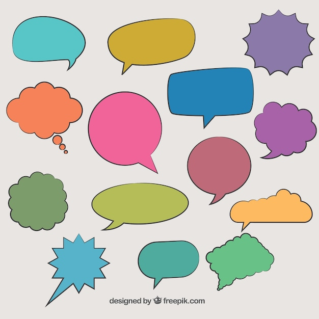 Globos De Diálogos De Comic Dibujados A Mano En Colores