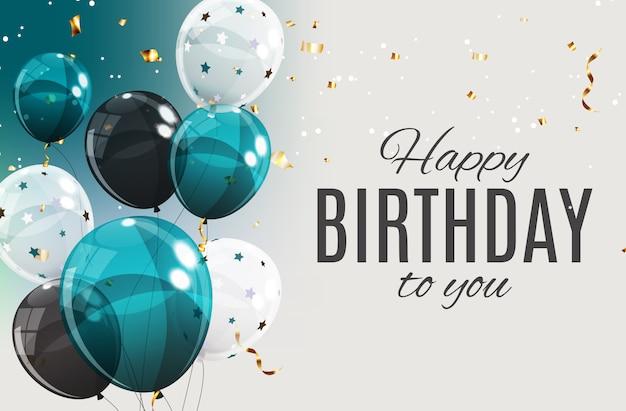 Globos de feliz cumpleaños de color brillante Vector Premium