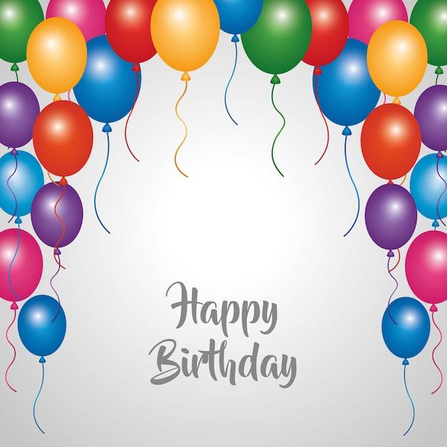 Globos de la frontera de celebración de fiesta de tarjeta de feliz  cumpleaños  1d262140ffa