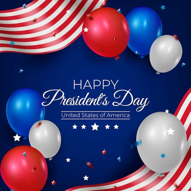 Globos realistas para el día del presidente. vector gratuito