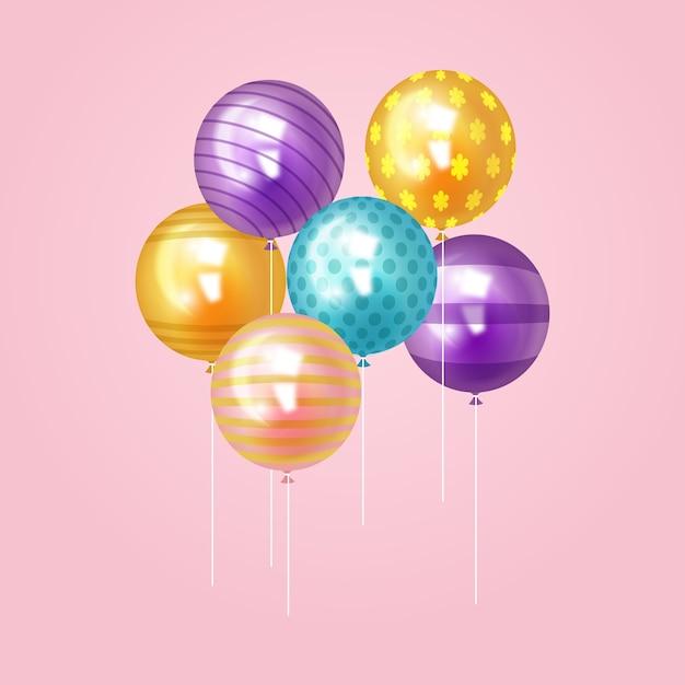 Globos realistas tema para celebración de cumpleaños vector gratuito