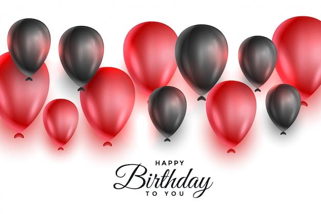 Globos rojos y negros para la celebración de feliz cumpleaños vector gratuito