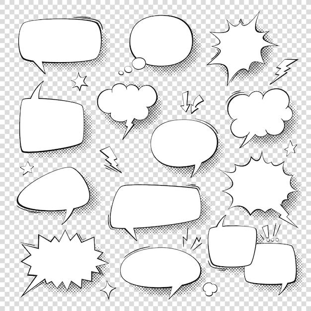 Globos de texto. burbujas de palabra vintage, formas cómicas burbujeantes retro. nubes de pensamiento con conjunto de vectores de semitonos Vector Premium
