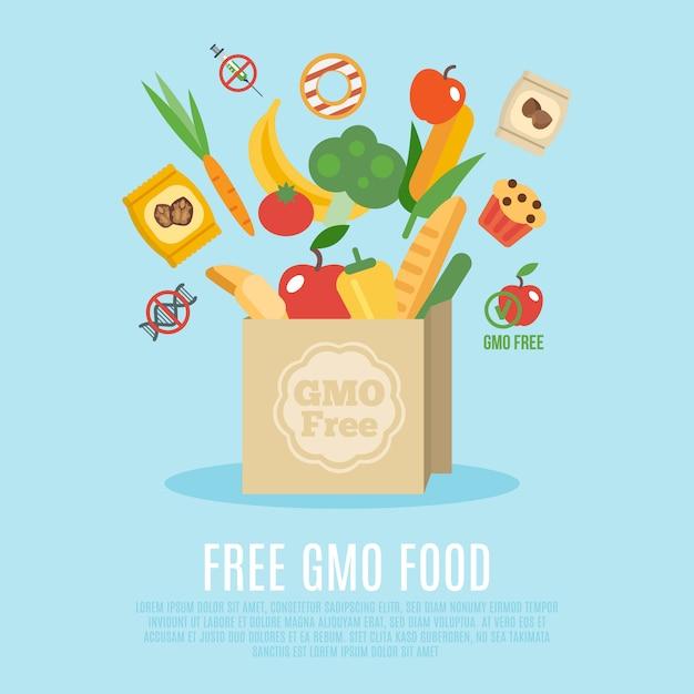 Gmo free concept flat vector gratuito