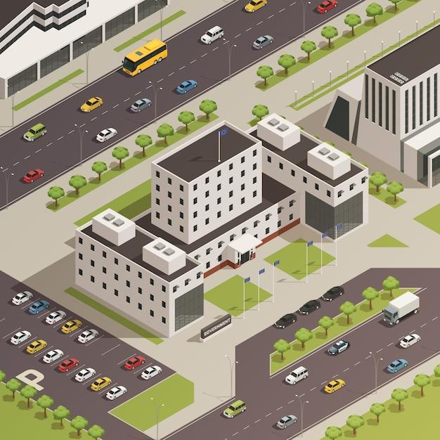 Gobierno de la ciudad edificios isométrica vector gratuito