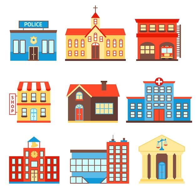 Gobierno edificio iconos conjunto de policía tienda iglesia aislado ilustración vectorial Vector Gratis