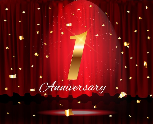 Golden 1 years anniversary templatevector illustration Vector Premium