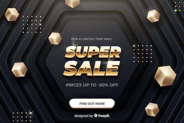 Golden banner promocionando ofertas de ventas vector gratuito