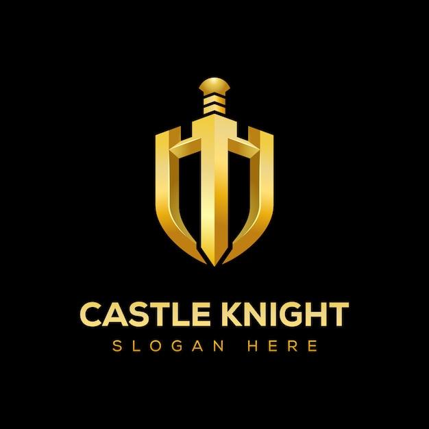 Golden castle knight con el logo del escudo Vector Premium