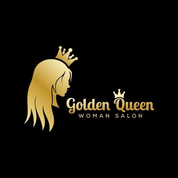 Golden queen logo, logo de salón de belleza de lujo, diseño de logo de cabello largo Vector Premium