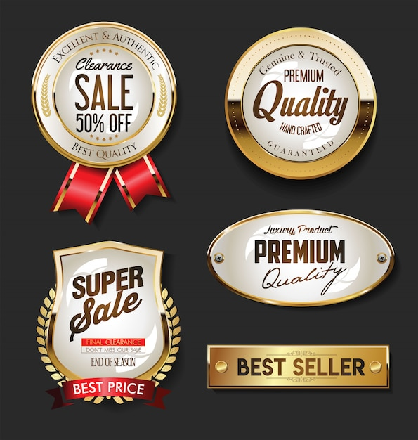 Golden sale etiquetas colección vintage retro Vector Premium