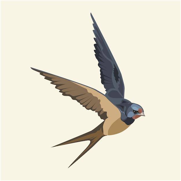 Golondrina (pájaro) en vuelo Vector Premium