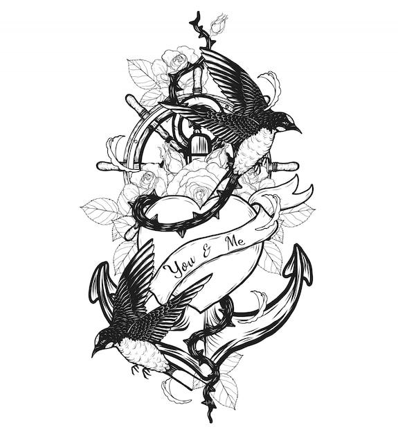 Golondrinas con corazón vector tatuaje a mano dibujo Vector Premium