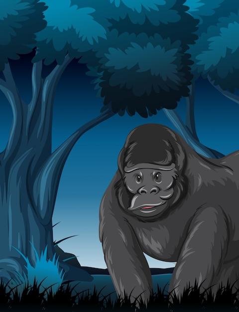 Un gorila en el bosque vector gratuito