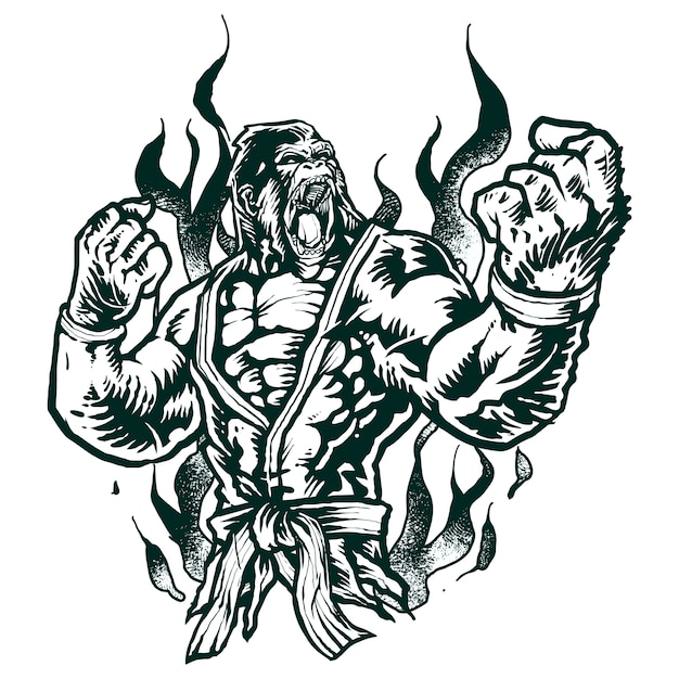 Gorila de combate jiu-jitsu monocromo Vector Premium