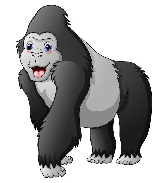 Gorila divertido de dibujos animados Vector Premium
