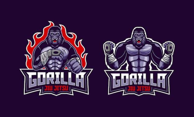 Gorila enojado jiu jitsu logo mascota Vector Premium