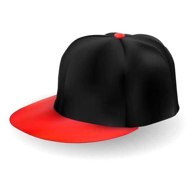 Gorra de beisbol. vector de sombrero negro aislado Vector Premium