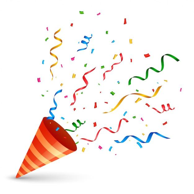 Gorra de cumpleaños con confeti y explosión de serpentina. vector gratuito