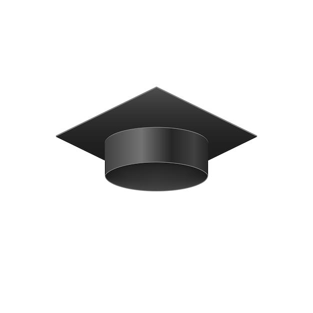 Gorra negra de graduación realista de la universidad 3d. Vector Premium