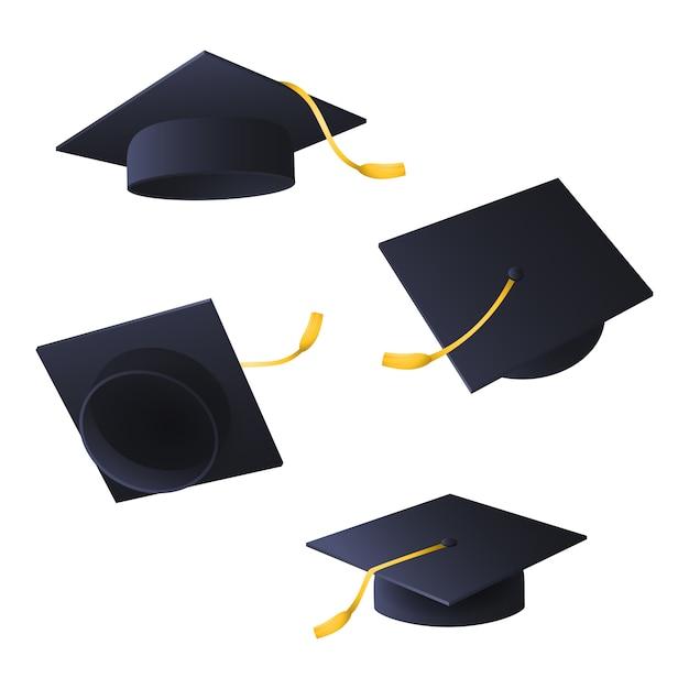 Gorras de graduación de vuelo vector gratuito