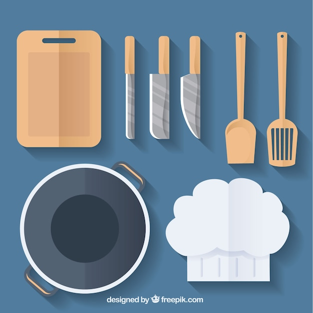 Gorro de chef y utensilios de cocina descargar vectores for Utensilios de chef