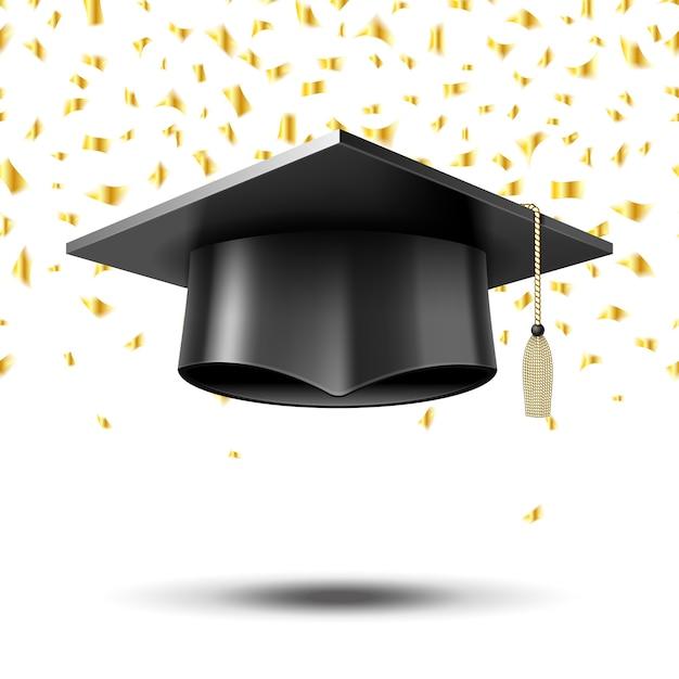 Gorro de graduación, fondo del concepto de educación. escuela universitaria universitaria, sombrero y título, vector gratuito