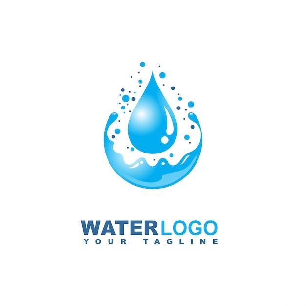 Gota de agua vector logo con hoja y mano Vector Premium