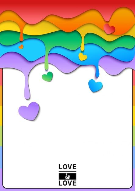Gota arcoiris con marco de corazon Vector Premium