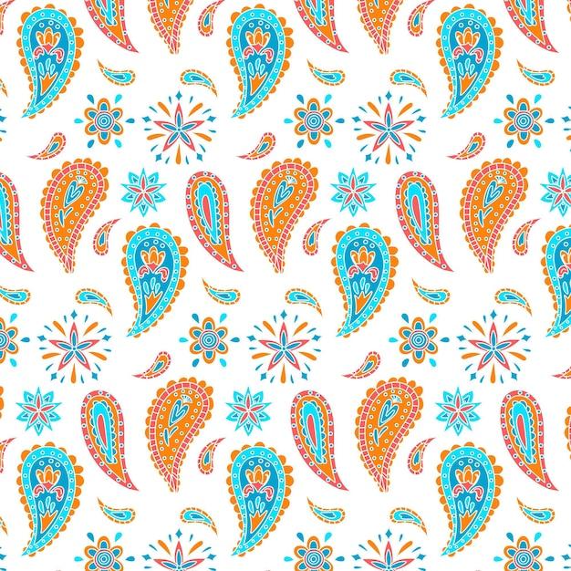Gotas y flores de patrones sin fisuras paisley vector gratuito