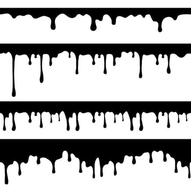 Goteo de pintura, líquido negro o chocolate derretido gotea corrientes sin costura aisladas Vector Premium