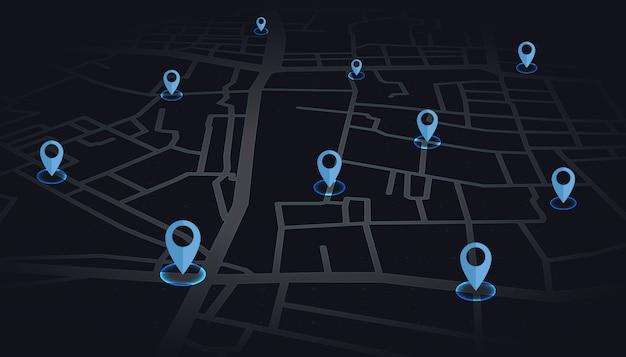 Gps fija el color azul que se muestra en la calle del mapa en tono oscuro. Vector Premium