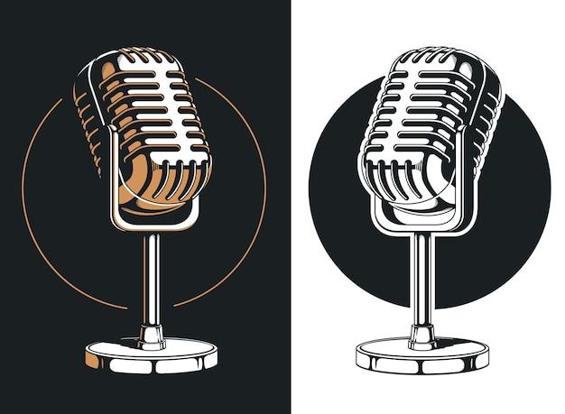 Grabación de micrófono de podcasting silueta aislada Vector Premium