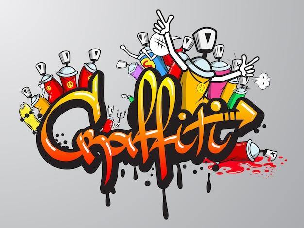 Grabado de personajes de graffiti vector gratuito