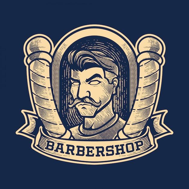 Grabado vintage barbershop logo Vector Premium