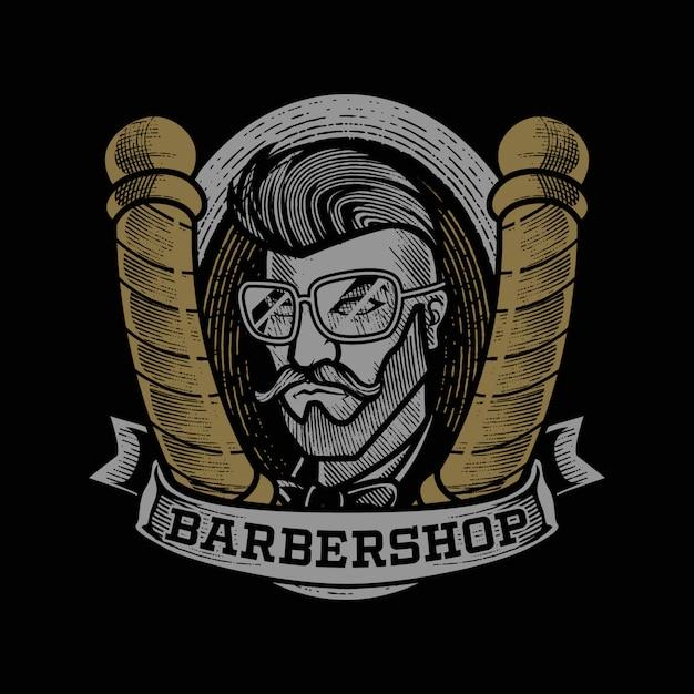 Grabado vintage barbershop mascot logo Vector Premium