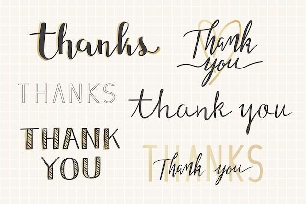 Gracias conjunto de tipografía manuscrita. vector gratuito