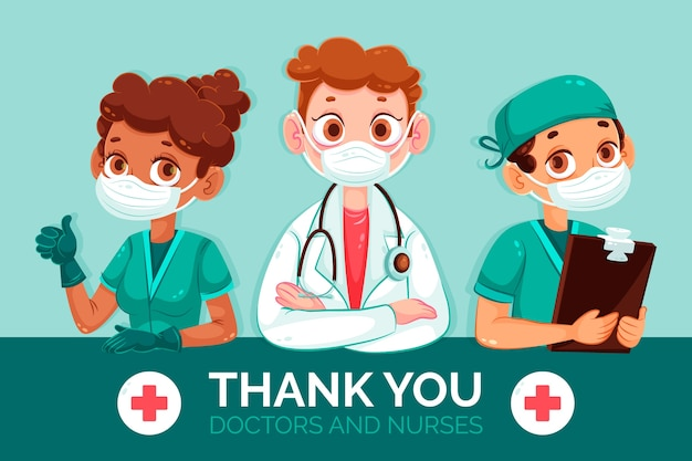 Gracias doctores y enfermeras ilustración vector gratuito