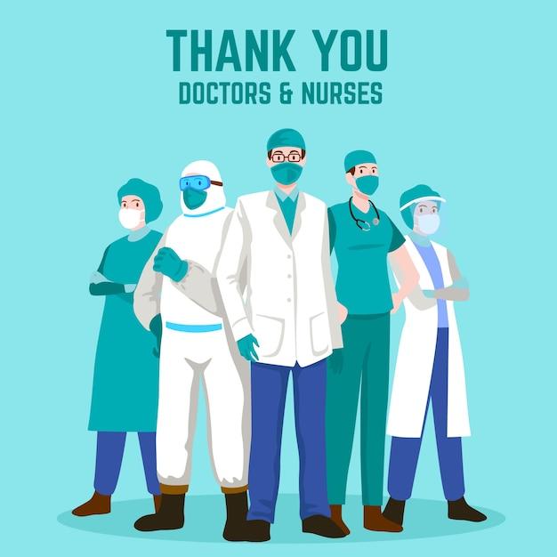 Gracias doctores y enfermeras vector gratuito
