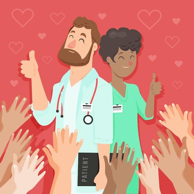 Gracias enfermeras y doctor ilustración vector gratuito