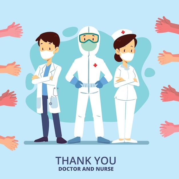 Gracias enfermeras y médicos ilustración concepto vector gratuito