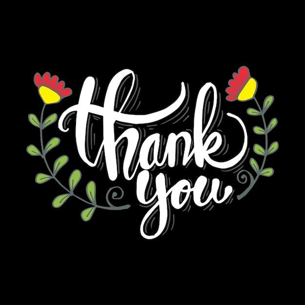 Gracias fondo de letras con flores Vector Premium