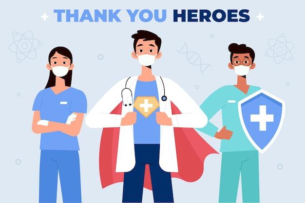 Gracias médicos y enfermeras concepto vector gratuito