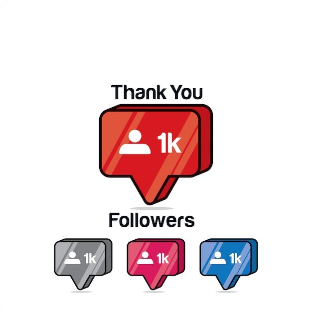 Gracias seguidores 1k. icono de instagram, isométrico Vector Premium
