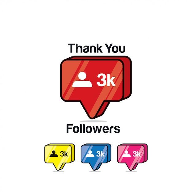 Gracias seguidores 3k. icono de instagram, isométrico Vector Premium
