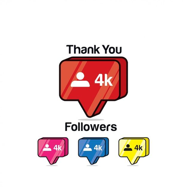Gracias seguidores 4k. icono de instagram, isométrico Vector Premium