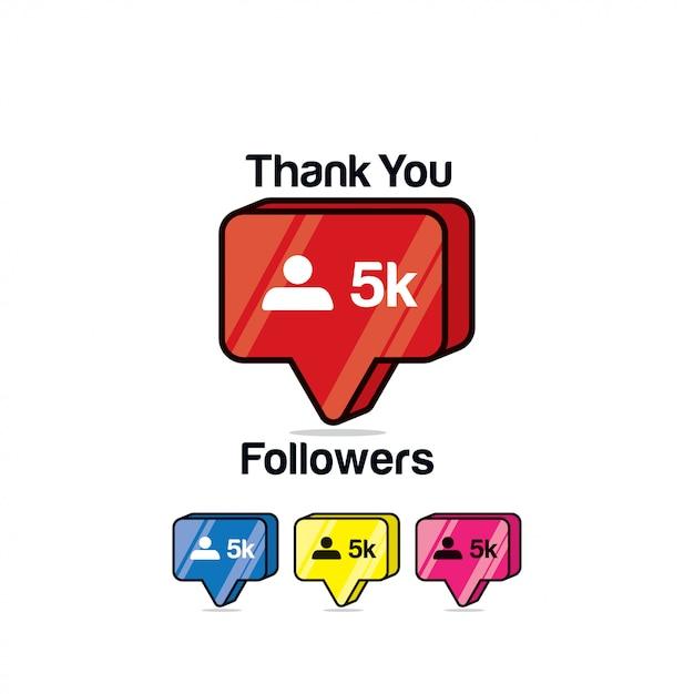 Gracias seguidores 5k. icono de instagram, isométrico Vector Premium