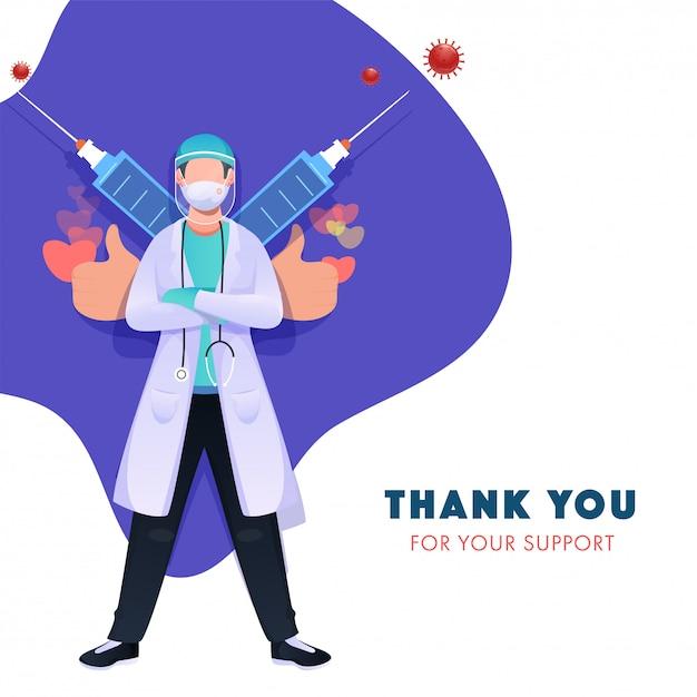Gracias por su apoyo. doctor use una máscara médica, guantes con protector facial y jeringas contra el coronavirus (covid-19). Vector Premium