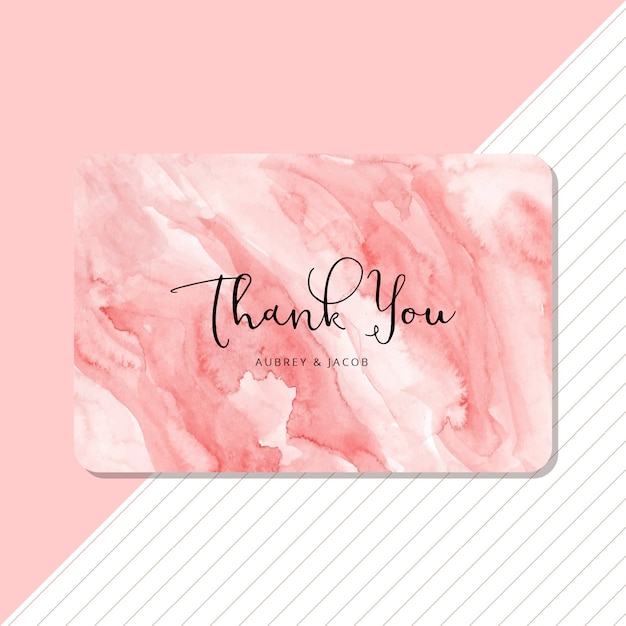 Gracias tarjeta con fondo acuarela abstracta rosa Vector Premium