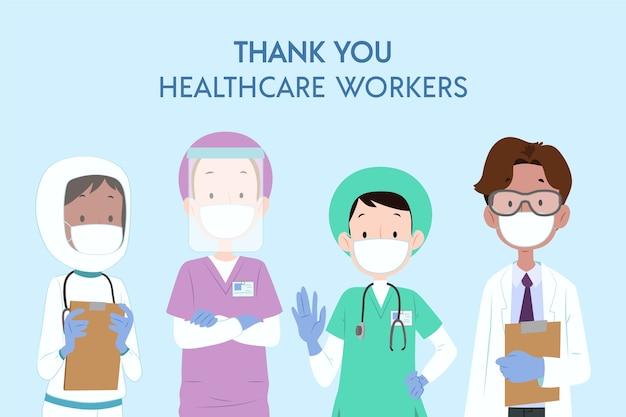 Gracias trabajadores de la salud Vector Premium